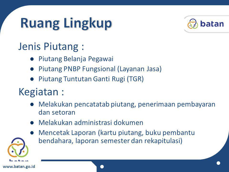 www.batan.go.id Jenis Piutang : Piutang Belanja Pegawai Piutang PNBP Fungsional (Layanan Jasa) Piutang Tuntutan Ganti Rugi (TGR) Kegiatan : Melakukan
