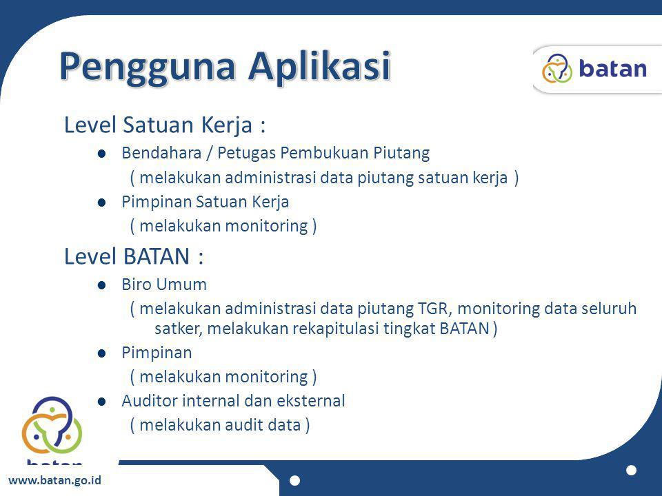 www.batan.go.id Level Satuan Kerja : Bendahara / Petugas Pembukuan Piutang ( melakukan administrasi data piutang satuan kerja ) Pimpinan Satuan Kerja