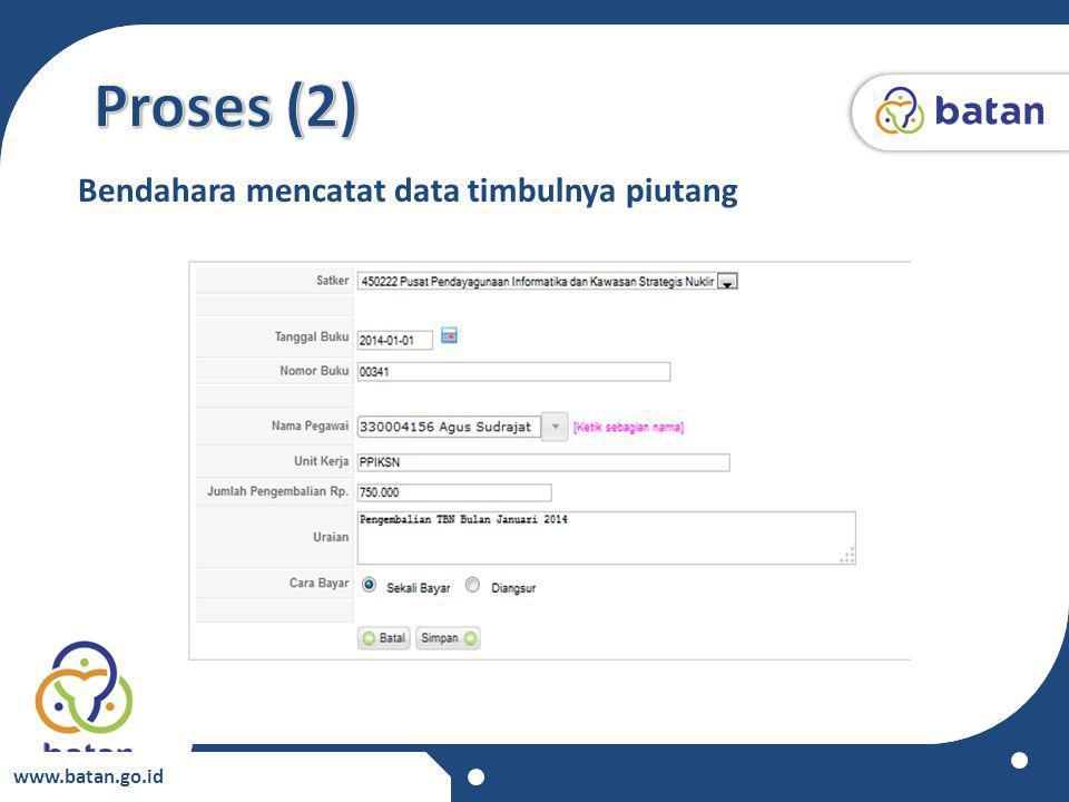 www.batan.go.id Bendahara mencatat data timbulnya piutang