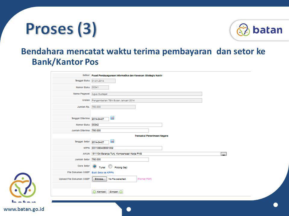 www.batan.go.id Bendahara mencatat waktu terima pembayaran dan setor ke Bank/Kantor Pos