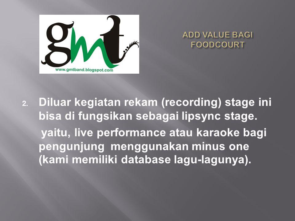 2.Diluar kegiatan rekam (recording) stage ini bisa di fungsikan sebagai lipsync stage.