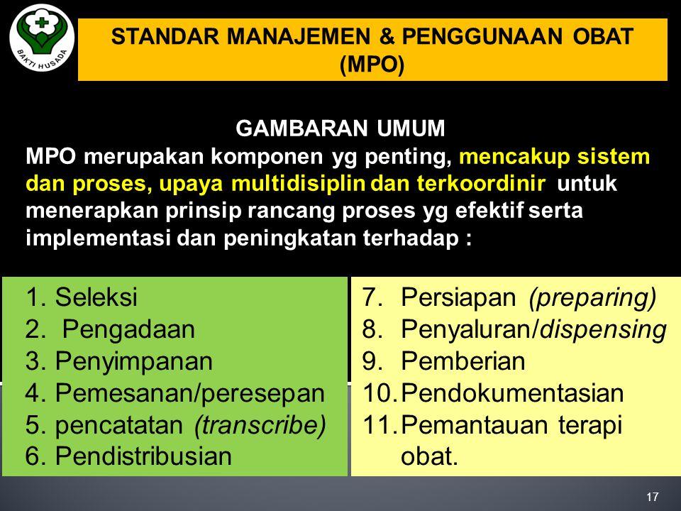 4.TKP (Tata Kelola, Kepemimpinan dan Pengarahan): Penyediaan obat saat Inst.