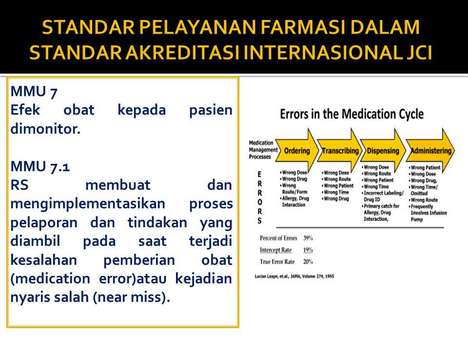 PEMANTAUAN Standar MPO.7 Efek obat terhadap pasien dimonitor Standar MPO.7.1 Kesalahan yg terkait dengan manajemen obat (medication errors) dilaporkan melalui proses dan kerangka waktu yg ditetapkan oleh RS