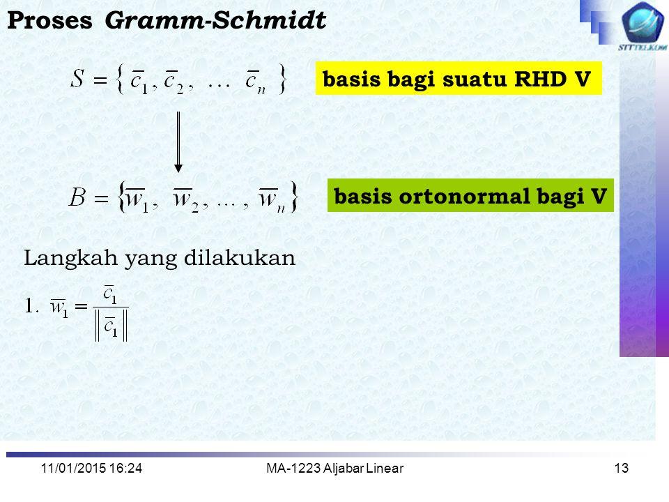 11/01/2015 16:26MA-1223 Aljabar Linear13 Proses Gramm-Schmidt basis bagi suatu RHD V basis ortonormal bagi V Langkah yang dilakukan