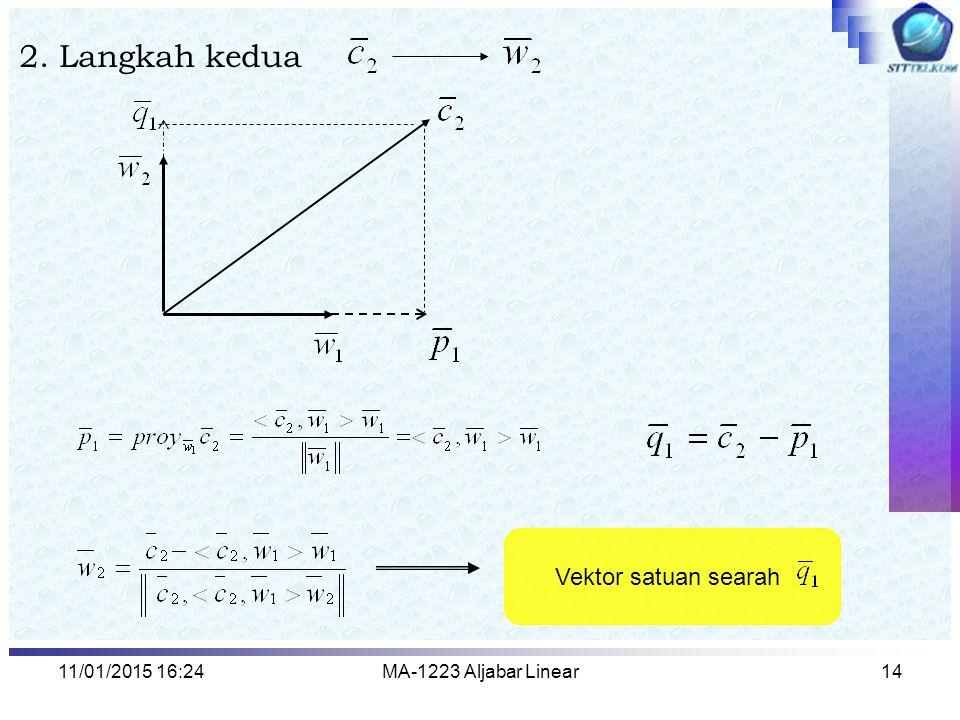 11/01/2015 16:26MA-1223 Aljabar Linear14 2. Langkah kedua Vektor satuan searah