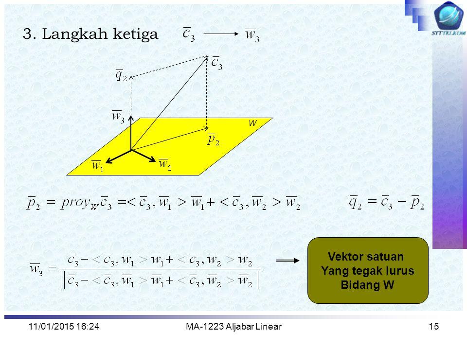 11/01/2015 16:26MA-1223 Aljabar Linear15 3. Langkah ketiga W Vektor satuan Yang tegak lurus Bidang W