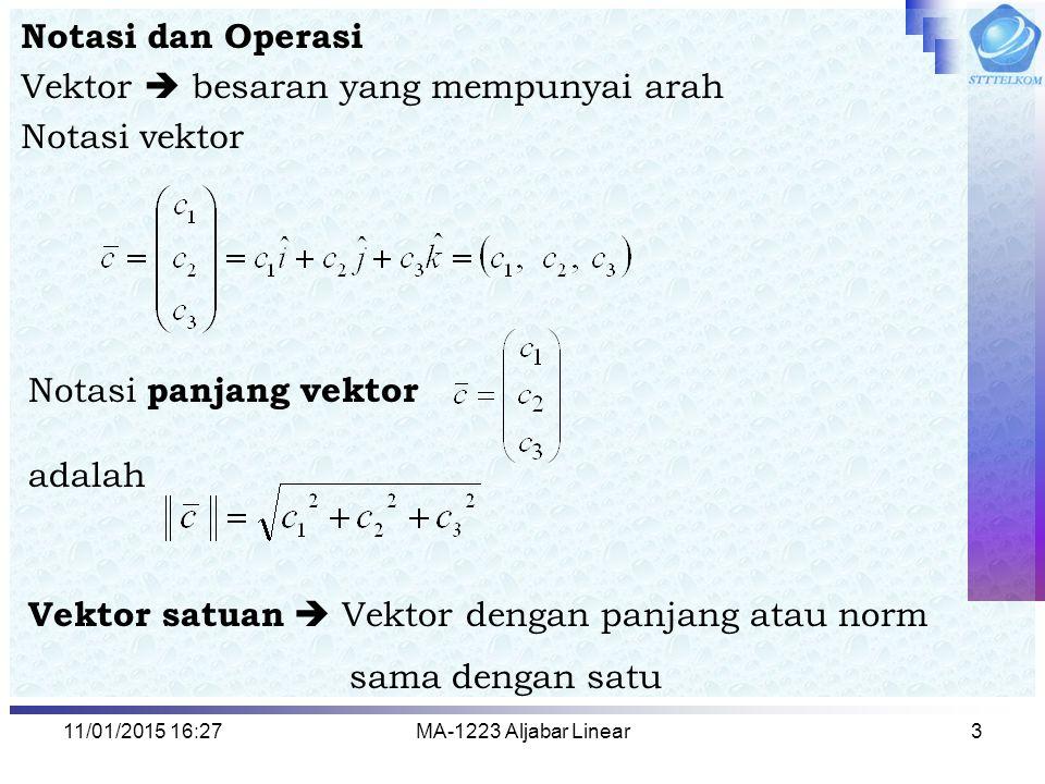 11/01/2015 16:29MA-1223 Aljabar Linear4 Operasi Vektor meliputi : 1.Penjumlahan antar vektor (pada ruang yang sama) 2.Perkalian vektor (a) dengan skalar (b) dengan vektor lain Hasil kali titik ( Dot Product ) Hasil kali silang ( Cross Product )