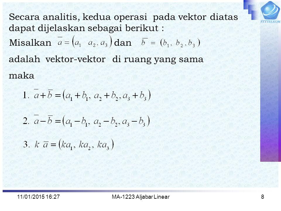 11/01/2015 16:29MA-1223 Aljabar Linear8 Secara analitis, kedua operasi pada vektor diatas dapat dijelaskan sebagai berikut : adalah vektor-vektor di r