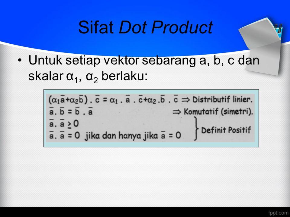 Sifat Dot Product Untuk setiap vektor sebarang a, b, c dan skalar α 1, α 2 berlaku: