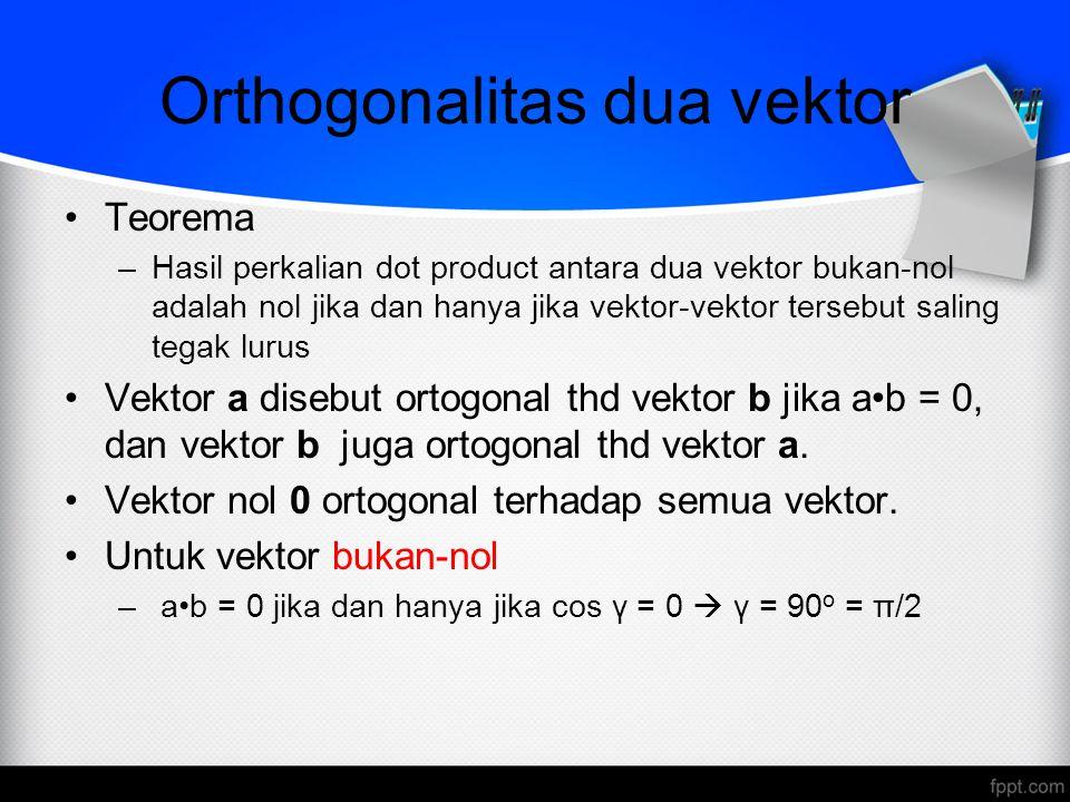 Orthogonalitas dua vektor Teorema –Hasil perkalian dot product antara dua vektor bukan-nol adalah nol jika dan hanya jika vektor-vektor tersebut salin