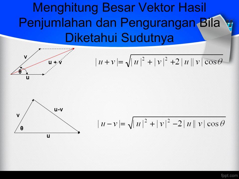 Menghitung Besar Vektor Hasil Penjumlahan dan Pengurangan Bila Diketahui Sudutnya u + v u v θ u v u-v θ