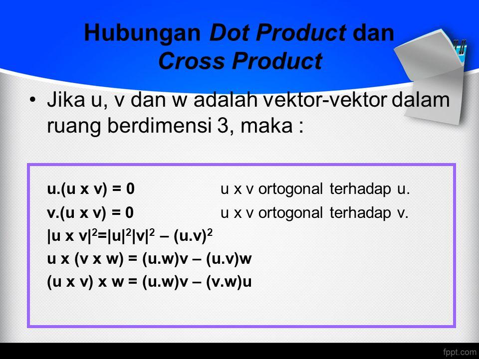 Hubungan Dot Product dan Cross Product Jika u, v dan w adalah vektor-vektor dalam ruang berdimensi 3, maka : u.(u x v) = 0u x v ortogonal terhadap u.
