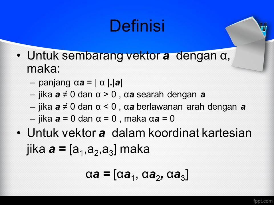 Definisi Untuk sembarang vektor a dengan α, maka: –panjang αa = | α |.|a| –jika a ≠ 0 dan α > 0, αa searah dengan a –jika a ≠ 0 dan α < 0, αa berlawan