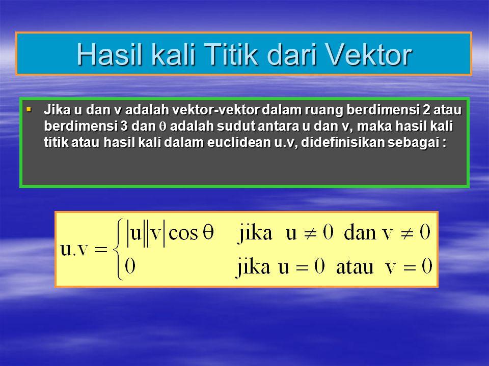 Hasil kali Titik dari Vektor  Jika u dan v adalah vektor-vektor dalam ruang berdimensi 2 atau berdimensi 3 dan  adalah sudut antara u dan v, maka ha