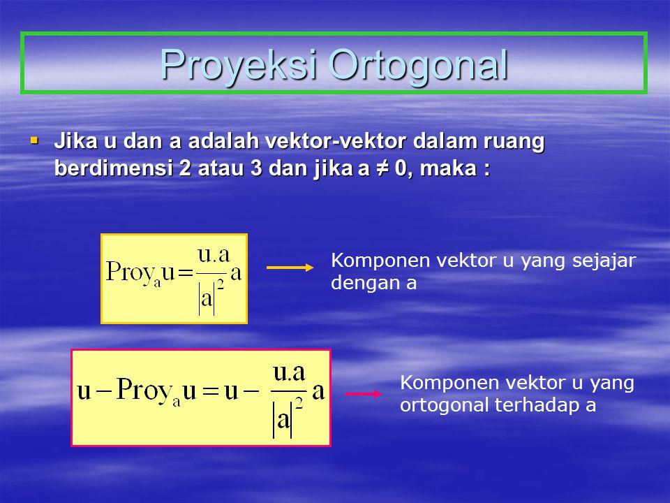 Proyeksi Ortogonal  Jika u dan a adalah vektor-vektor dalam ruang berdimensi 2 atau 3 dan jika a ≠ 0, maka : Komponen vektor u yang sejajar dengan a