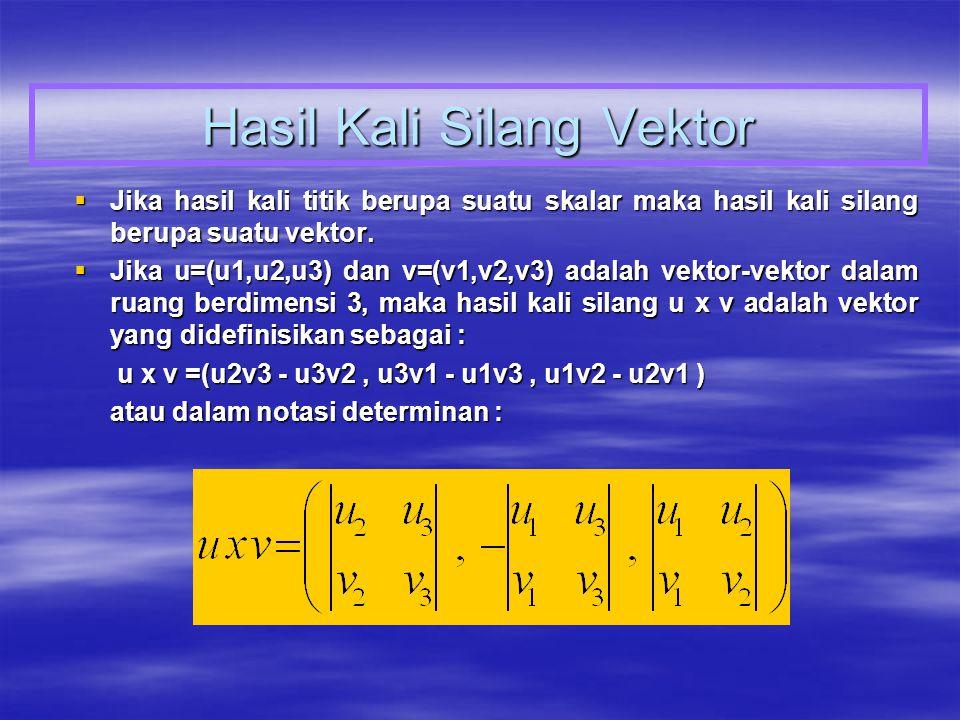 Hasil Kali Silang Vektor  Jika hasil kali titik berupa suatu skalar maka hasil kali silang berupa suatu vektor.  Jika u=(u1,u2,u3) dan v=(v1,v2,v3)