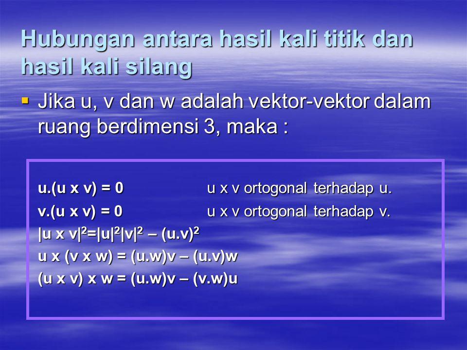 Hubungan antara hasil kali titik dan hasil kali silang  Jika u, v dan w adalah vektor-vektor dalam ruang berdimensi 3, maka : u.(u x v) = 0u x v orto