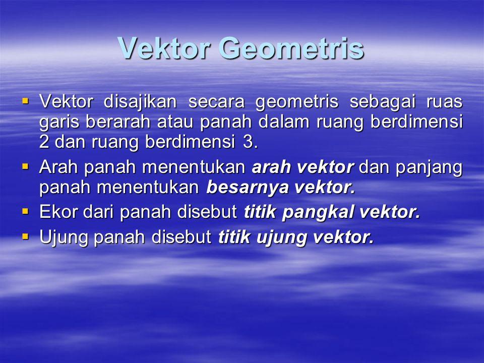 Vektor Geometris  Vektor disajikan secara geometris sebagai ruas garis berarah atau panah dalam ruang berdimensi 2 dan ruang berdimensi 3.  Arah pan