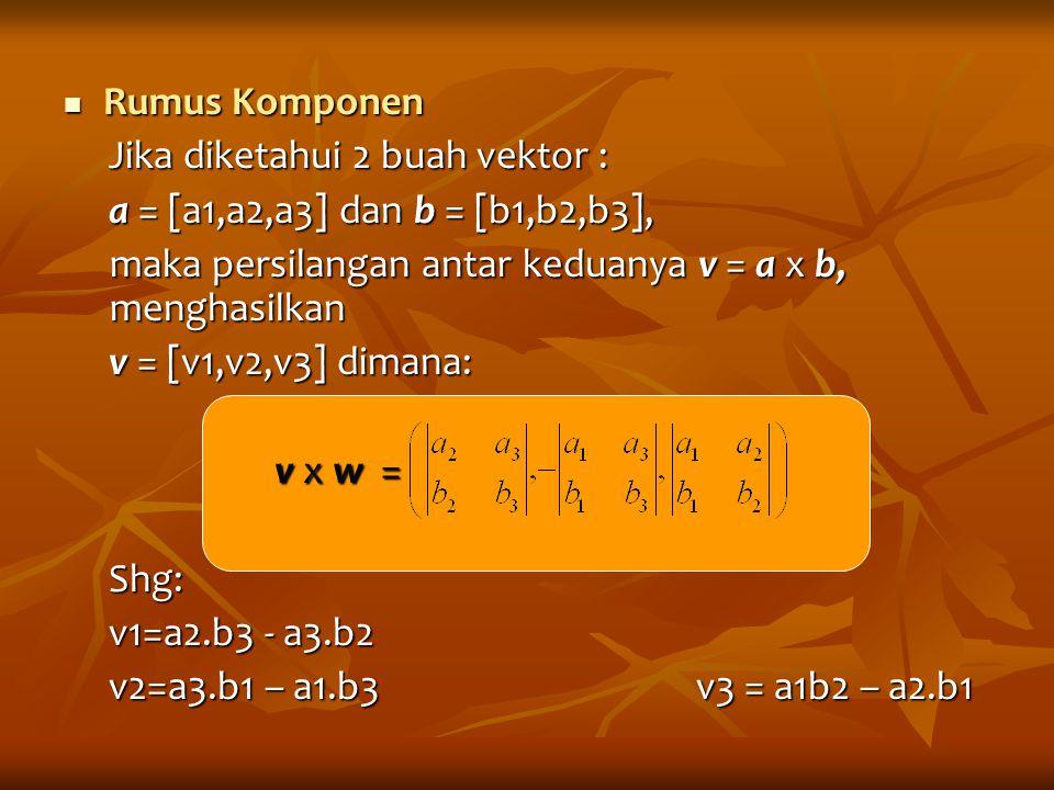 Rumus Komponen Rumus Komponen Jika diketahui 2 buah vektor : a = [a1,a2,a3] dan b = [b1,b2,b3], maka persilangan antar keduanya v = a x b, menghasilka