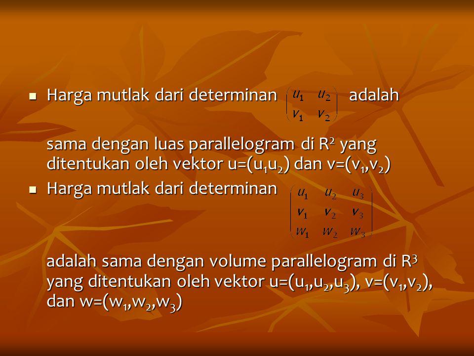 Harga mutlak dari determinan adalah Harga mutlak dari determinan adalah sama dengan luas parallelogram di R 2 yang ditentukan oleh vektor u=(u 1 u 2 )