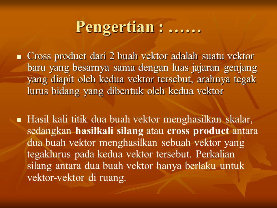 Summary Cross Product antara 2 vektor menghasilkan nilai vektor yang arah hasilnya sesuai dengan kaidah tangan kanan Cross Product antara 2 vektor menghasilkan nilai vektor yang arah hasilnya sesuai dengan kaidah tangan kanan