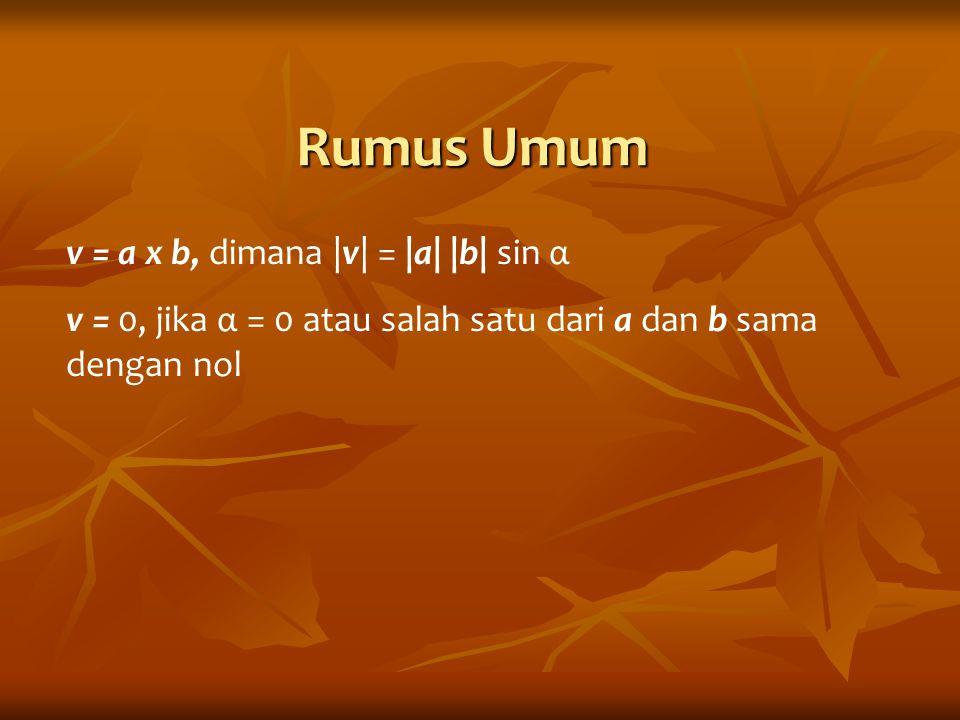 Rumus Komponen Rumus Komponen Jika diketahui 2 buah vektor : a = [a1,a2,a3] dan b = [b1,b2,b3], maka persilangan antar keduanya v = a x b, menghasilkan v = [v1,v2,v3] dimana: v x w = Shg: v1=a2.b3 - a3.b2 v2=a3.b1 – a1.b3v3 = a1b2 – a2.b1