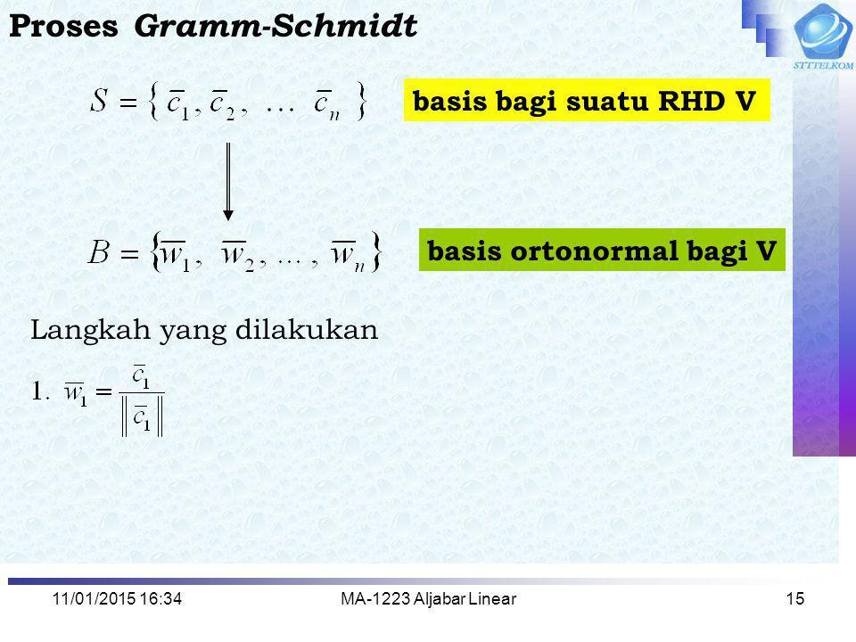 11/01/2015 16:35MA-1223 Aljabar Linear15 Proses Gramm-Schmidt basis bagi suatu RHD V basis ortonormal bagi V Langkah yang dilakukan