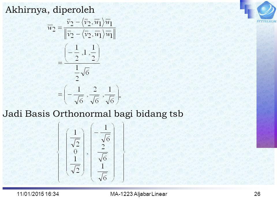 11/01/2015 16:35MA-1223 Aljabar Linear26 Akhirnya, diperoleh Jadi Basis Orthonormal bagi bidang tsb =