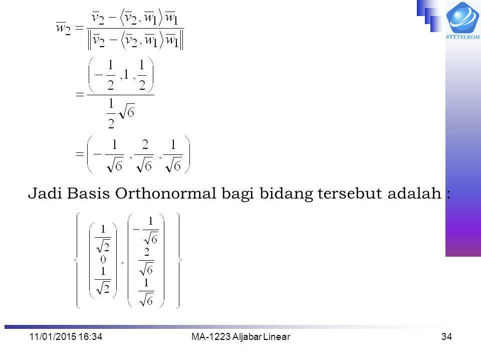 11/01/2015 16:35MA-1223 Aljabar Linear34 Jadi Basis Orthonormal bagi bidang tersebut adalah :