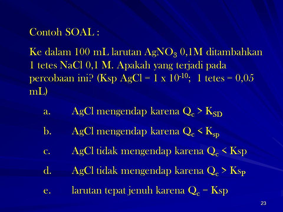 23 Contoh SOAL : Ke dalam 100 mL larutan AgNO 3 0,1M ditambahkan 1 tetes NaCl 0,1 M. Apakah yang terjadi pada percobaan ini? (Ksp AgCl = 1 x 10 -10 ;