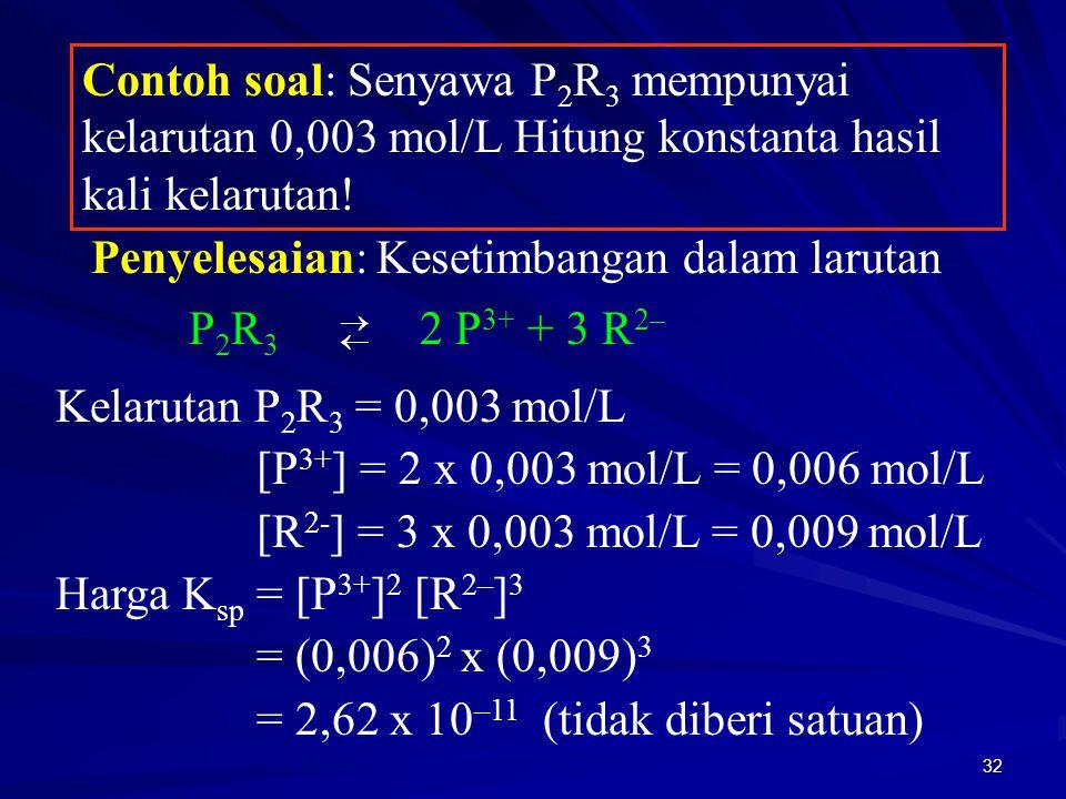 32 Contoh soal: Senyawa P 2 R 3 mempunyai kelarutan 0,003 mol/L Hitung konstanta hasil kali kelarutan! Penyelesaian: Kesetimbangan dalam larutan P 2 R