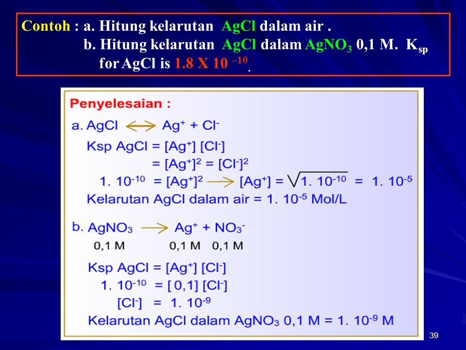 39 Contoh : a. Hitung kelarutan AgCl dalam air. b. Hitung kelarutan AgCl dalam AgNO 3 0,1 M. K sp for AgCl is 1.8 X 10 –10.