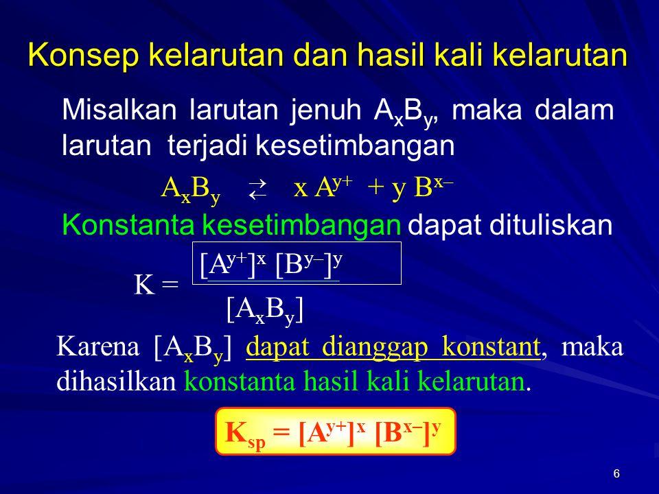 6 Konsep kelarutan dan hasil kali kelarutan Misalkan larutan jenuh A x B y, maka dalam larutan terjadi kesetimbangan A x B y x A y+ + y B x–  Kons