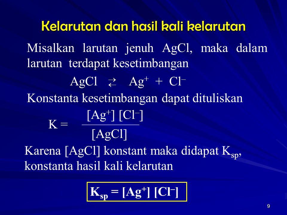 9 Kelarutan dan hasil kali kelarutan Misalkan larutan jenuh AgCl, maka dalam larutan terdapat kesetimbangan AgCl Ag + + Cl –  Konstanta kesetimban