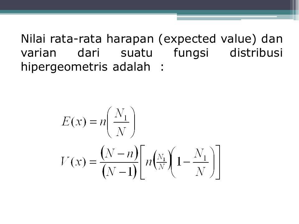 Nilai rata-rata harapan (expected value) dan varian dari suatu fungsi distribusi hipergeometris adalah :