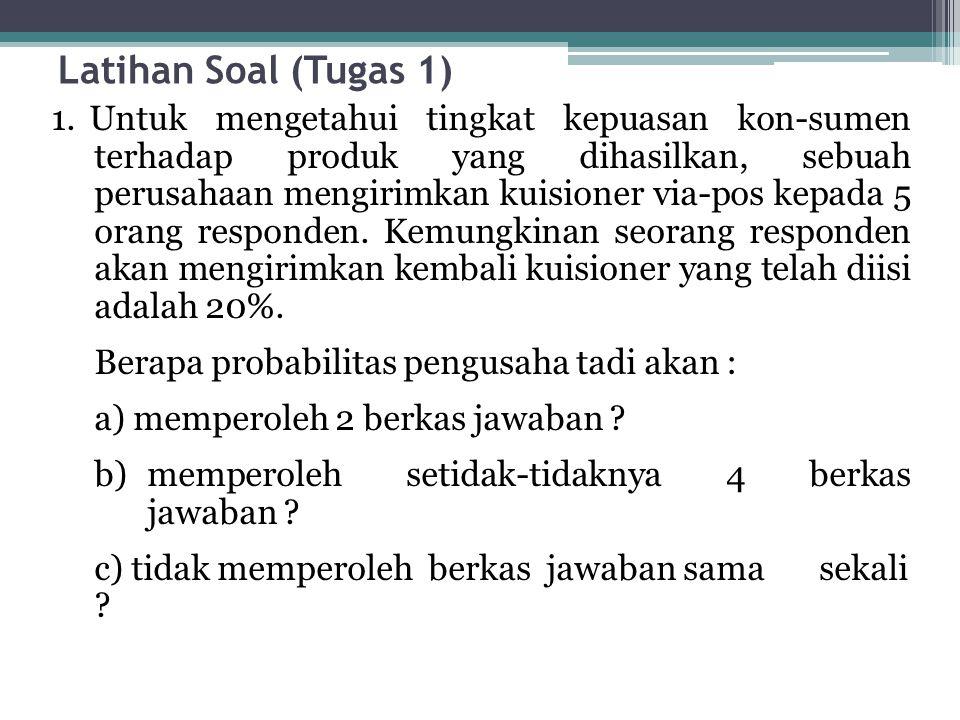 Latihan Soal (Tugas 1) 1. Untuk mengetahui tingkat kepuasan kon-sumen terhadap produk yang dihasilkan, sebuah perusahaan mengirimkan kuisioner via-pos