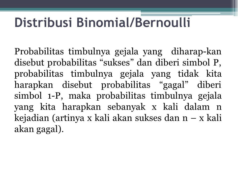 """Distribusi Binomial/Bernoulli Probabilitas timbulnya gejala yang diharap-kan disebut probabilitas """"sukses"""" dan diberi simbol P, probabilitas timbulnya"""