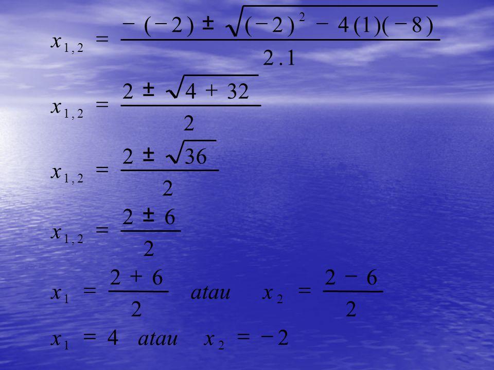 Contoh : Contoh : Tentukan akar-akar PK x 2 – 2x – 8 = 0 Jawab: x 2 – 2x – 8 = 0 x 2 – 2x – 8 = 0 a = 1 ; b = -2 c = -8 Dengan menggunakan rumus kuadrat kita peroleh sebagai berikut :