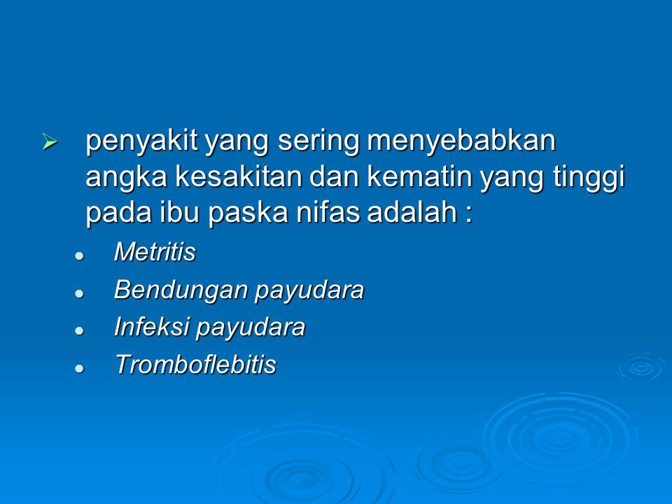  penyakit yang sering menyebabkan angka kesakitan dan kematin yang tinggi pada ibu paska nifas adalah : Metritis Metritis Bendungan payudara Bendunga