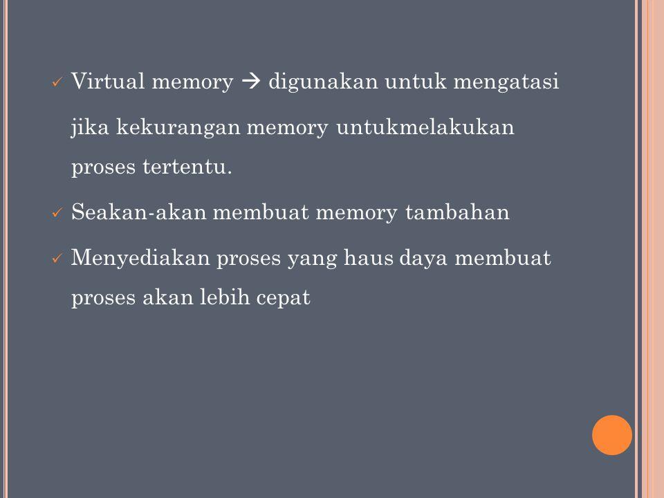 Virtual memory  digunakan untuk mengatasi jika kekurangan memory untukmelakukan proses tertentu.