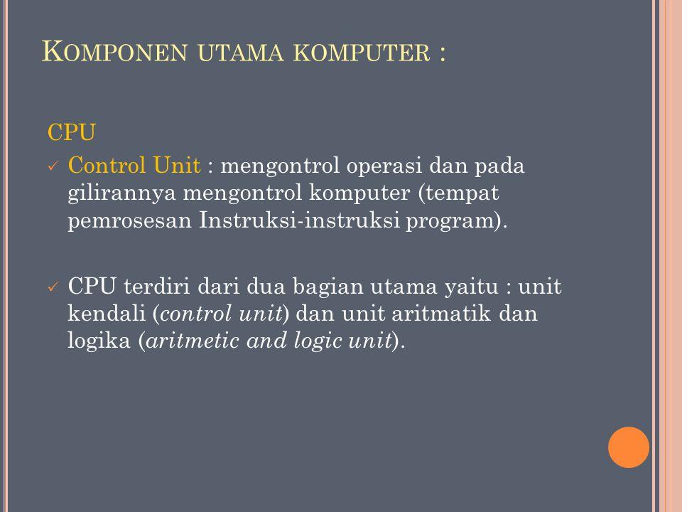 K OMPONEN UTAMA KOMPUTER : CPU Control Unit : mengontrol operasi dan pada gilirannya mengontrol komputer (tempat pemrosesan Instruksi-instruksi program).