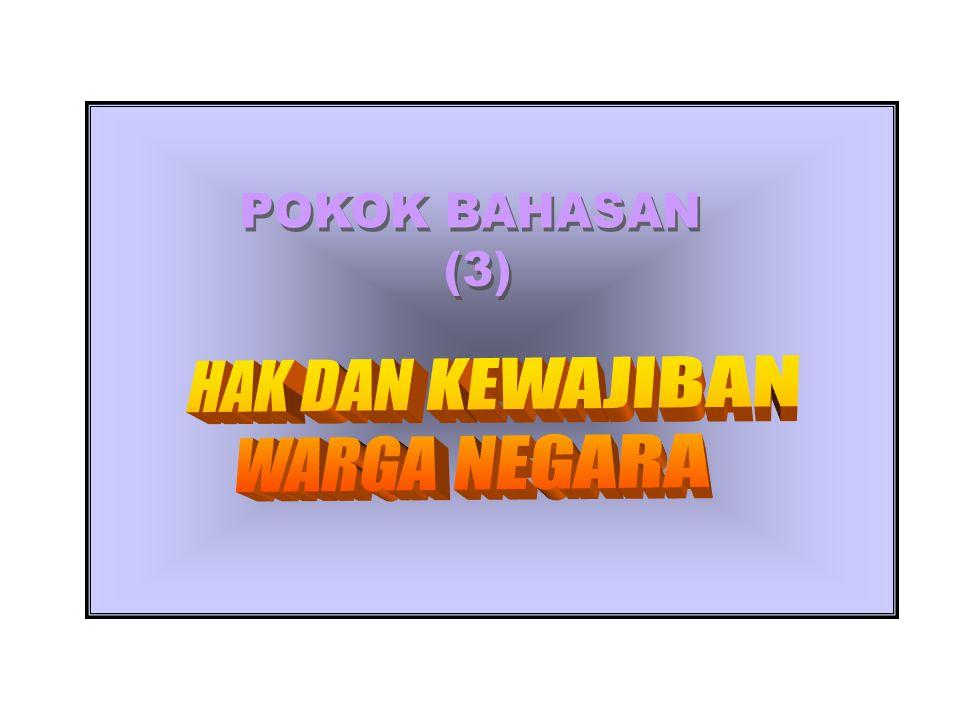 HAK DAN KEWAJIBAN WARGA NEGARA POKOK BAHASAN : Sumber Belajar/ referensi Agus Susarso, Implementasi Bela Negara, Jakarta, Lemhanas, 2004 Kaelan, (ED), Pendidikan Kewargenegaraan, Yogyakarta, Penerbit Paradigma, 2002.