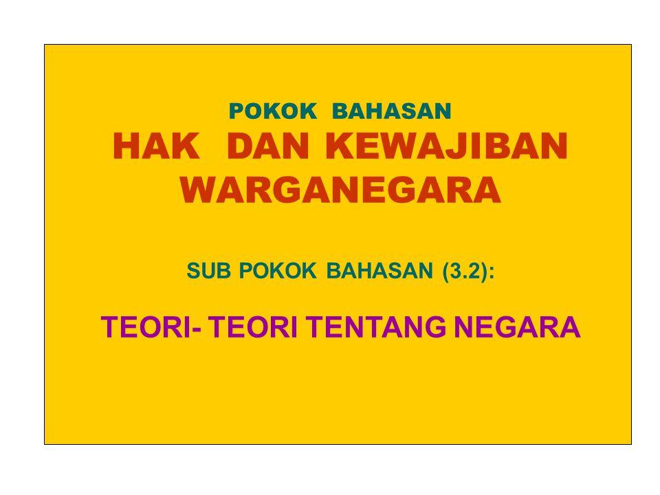 POKOK BAHASAN HAK DAN KEWAJIBAN WARGANEGARA SUB POKOK BAHASAN (3.2): TEORI- TEORI TENTANG NEGARA