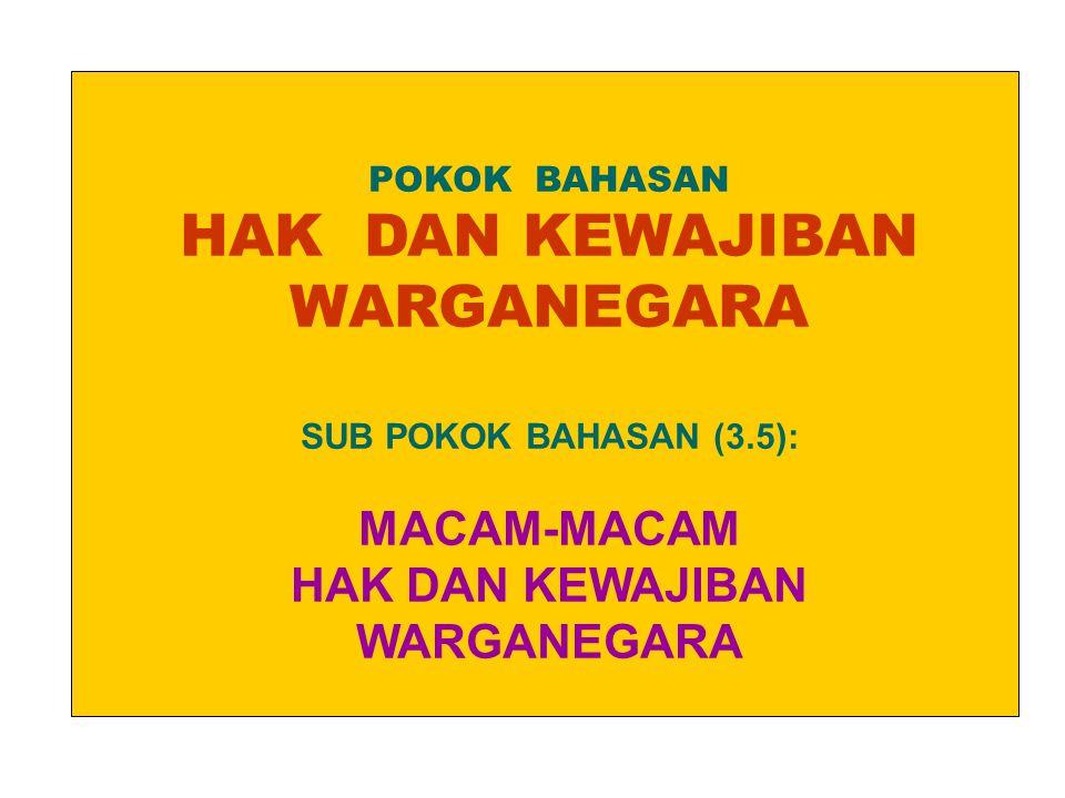 POKOK BAHASAN HAK DAN KEWAJIBAN WARGANEGARA SUB POKOK BAHASAN (3.5): MACAM-MACAM HAK DAN KEWAJIBAN WARGANEGARA