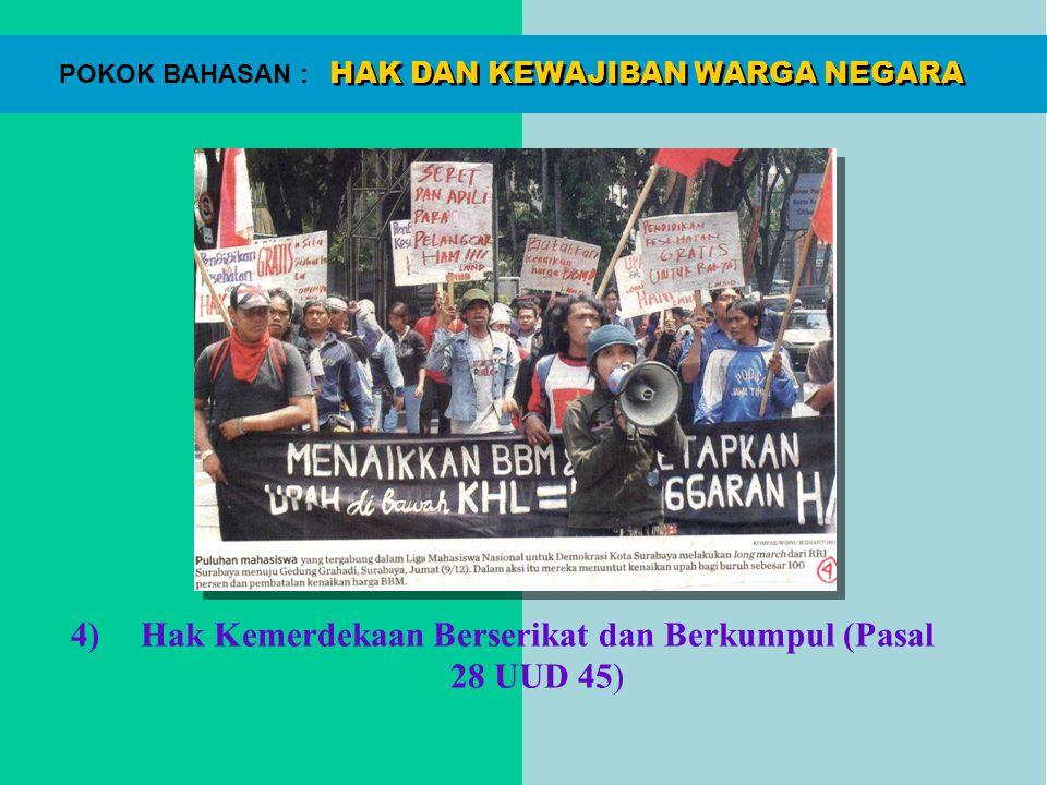 HAK DAN KEWAJIBAN WARGA NEGARA POKOK BAHASAN : 4)Hak Kemerdekaan Berserikat dan Berkumpul (Pasal 28 UUD 45)