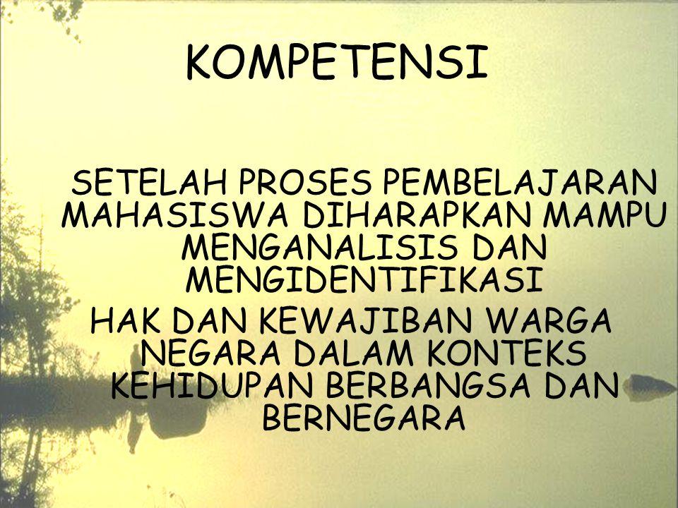 1/11/20153 KOMPETENSI SETELAH PROSES PEMBELAJARAN MAHASISWA DIHARAPKAN MAMPU MENGANALISIS DAN MENGIDENTIFIKASI HAK DAN KEWAJIBAN WARGA NEGARA DALAM KO