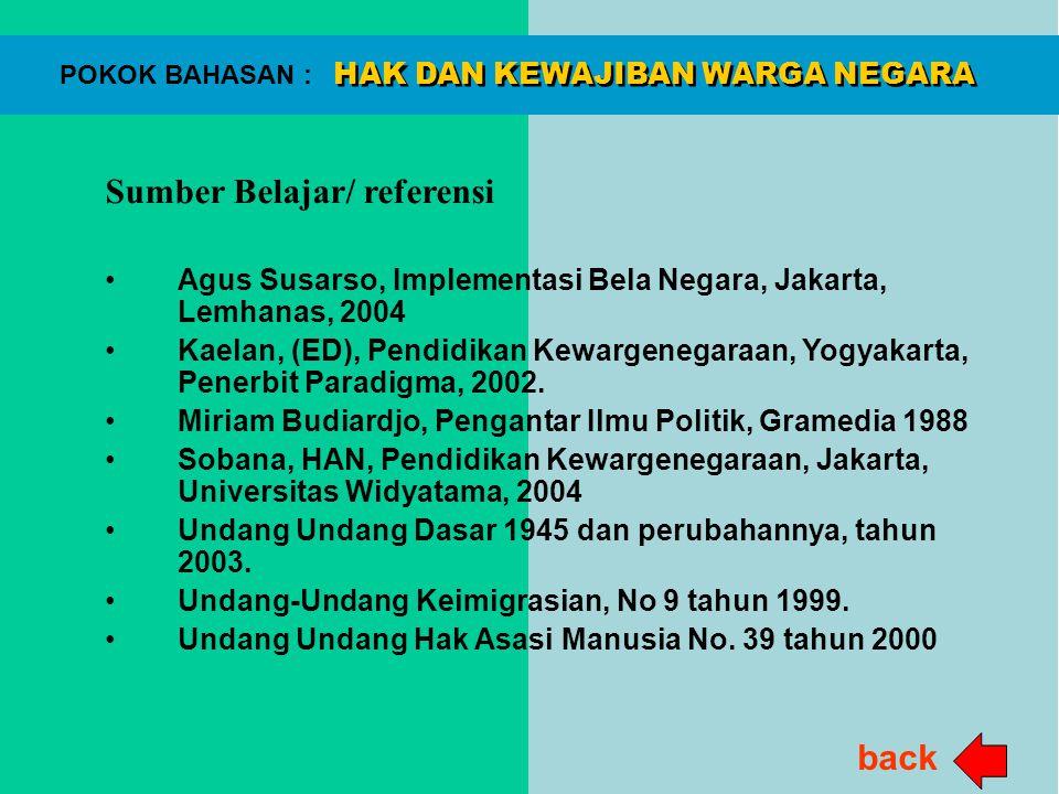 HAK DAN KEWAJIBAN WARGA NEGARA POKOK BAHASAN : Sumber Belajar/ referensi Agus Susarso, Implementasi Bela Negara, Jakarta, Lemhanas, 2004 Kaelan, (ED),