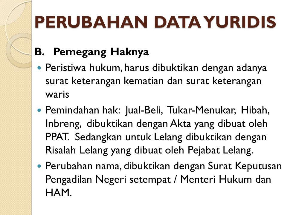 PERUBAHAN DATA YURIDIS B.