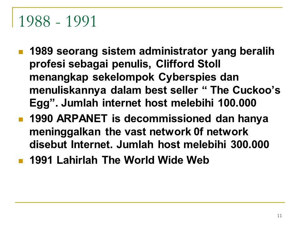 11 1988 - 1991 1989 seorang sistem administrator yang beralih profesi sebagai penulis, Clifford Stoll menangkap sekelompok Cyberspies dan menuliskanny