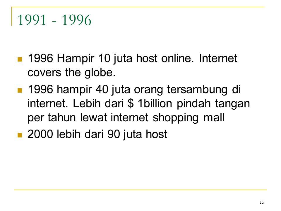 15 1991 - 1996 1996 Hampir 10 juta host online. Internet covers the globe. 1996 hampir 40 juta orang tersambung di internet. Lebih dari $ 1billion pin